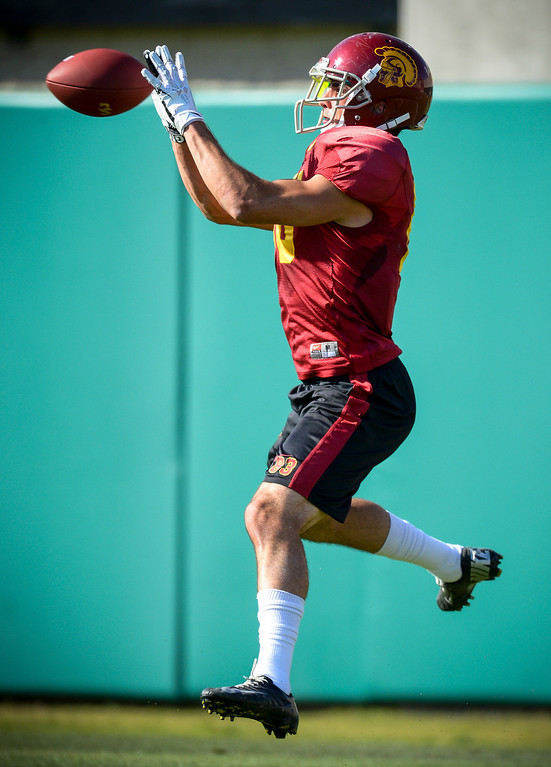 . USC�s George Katrib during spring practice at USC Tuesday, April 15, 2014.  (Photo by David Crane/Los Angeles Daily News.)
