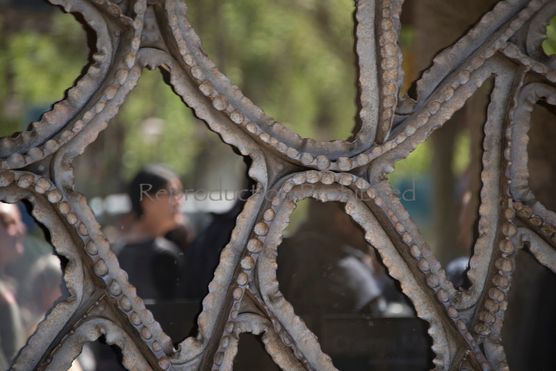 One Woman While waiting in line at Gaudi's La Pedrera Barcelona Spain  April 2013