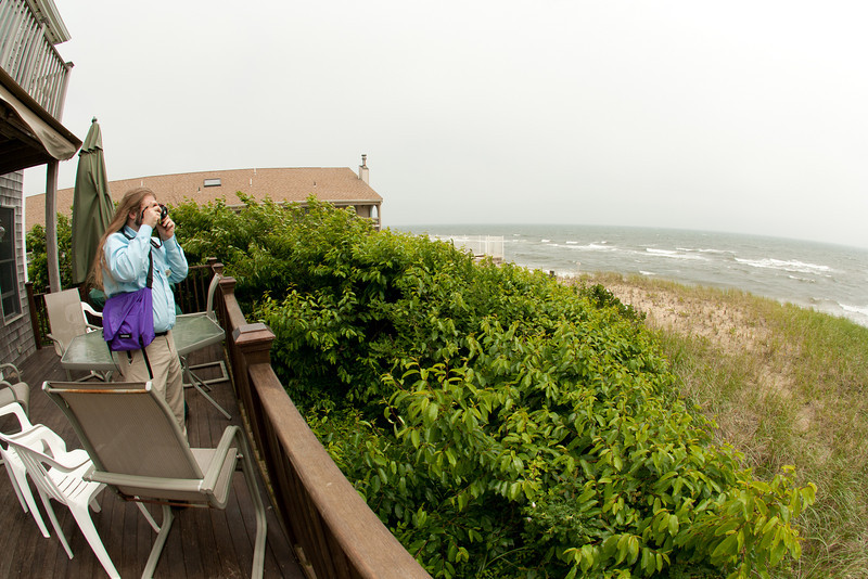 Jack D. takes a picture of the wild waves.