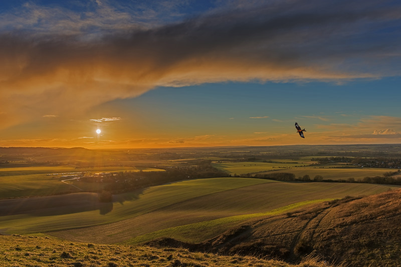 Dunstable Downs, Bedfordshire Sunset and Red Kite