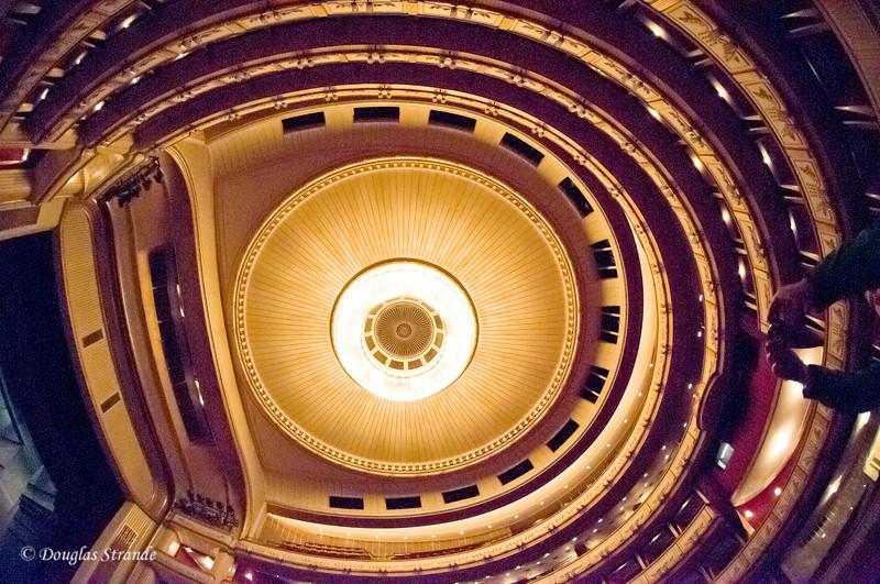 Vienna opera house interior, looking straight up