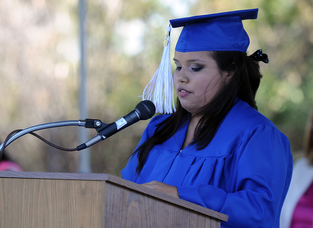 . Victoria Castaneda gives the student address during the El Camino High School commencement at El Camino High School on Wednesday, June 19, 2013 in Whittier, Calif.  (Keith Birmingham/Pasadena Star-News)