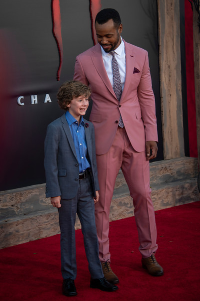 "WESTWOOD, CA - AUGUST 26: Isaiah Mustafa and Luke Roessler attend the Premiere Of Warner Bros. Pictures' ""It Chapter Two"" at Regency Village Theatre on Monday, August 26, 2019 in Westwood, California. (Photo by Tom Sorensen/Moovieboy Pictures)"