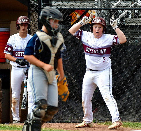 8/10/2019 Mike Orazzi | Staff New Hampshires Goffstown Junior Baseball Little League's Max Bridgeman (3) scores at Breen Field in Bristol, Conn., during the New England Regional Final on Saturday.
