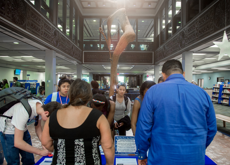 Students register for the chances to win prizes at the Open House event in the time of Banned Book Week