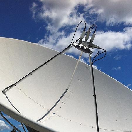 Multi Satellite Feedhorn Assembly on 3.6 meter dish