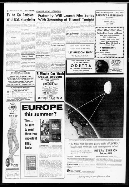 Daily Trojan, Vol. 52, No. 68, February 10, 1961