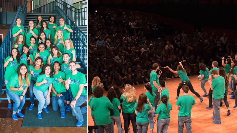 Orientation leaders take the stage and wake up future islanders and their guests.