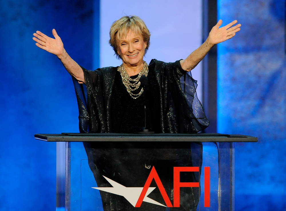 . Actress Cloris Leachman gestures to honoree Mel Brooks in the audience during the American Film Institute\'s 41st Lifetime Achievement Award Gala at the Dolby Theatre on Thursday, June 6, 2013 in Los Angeles. (Photo by Chris Pizello/Invision/AP)