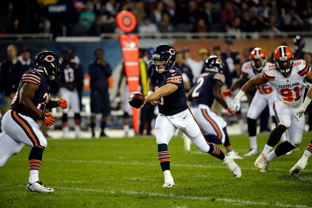 . Chicago Bears quarterback Connor Shaw (9) during the first half of an NFL preseason football game against the Cleveland Browns, Thursday, Aug. 31, 2017, in Chicago. (AP Photo/Charles Rex Arbogast)