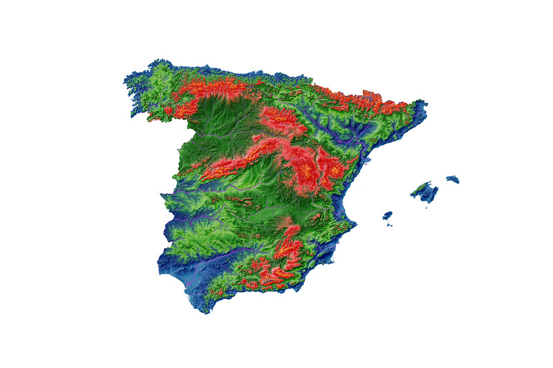 Elevation map of Spain