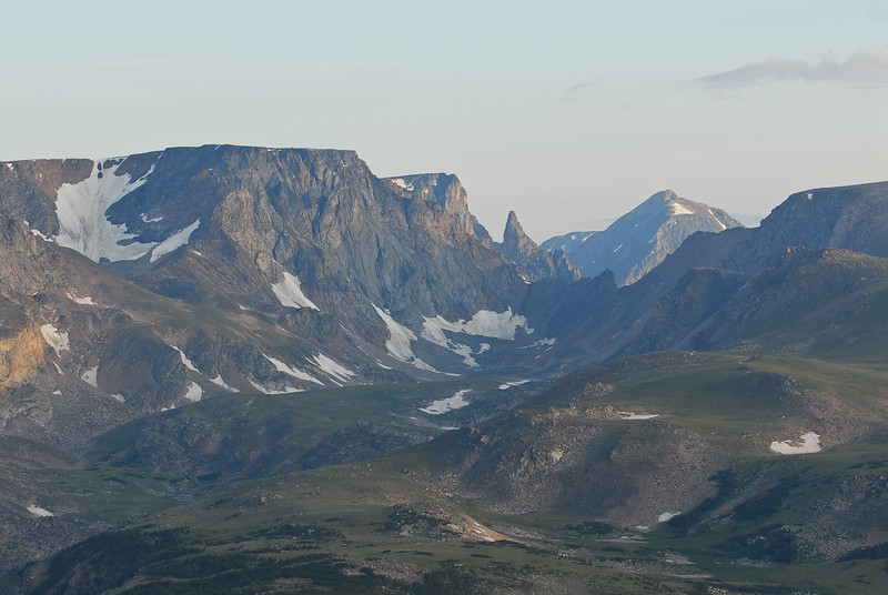 Bear Tooth Mountains.  The small peak just right of center is the Bear Tooth