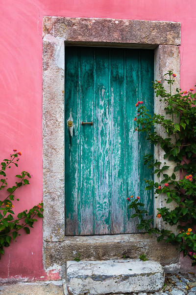 Green Door with Pink Wall