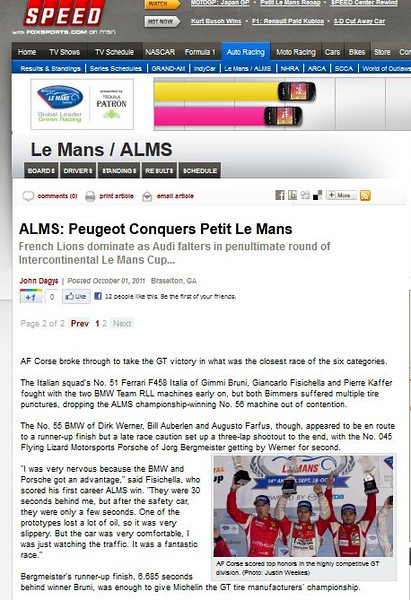 Speedtv.com Oct 1 2011 Petit Le Mans Braselton Ga.