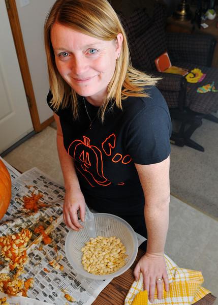 Jen roasted the pumpkin seeds