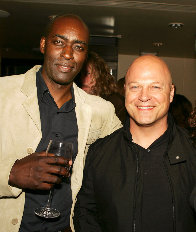 ". Actors Michael Jace (L) and Michael Chiklis pose at the afterparty for the 4th season screening premiere of FX\'s ""The Shield\"" at Meson G Resturaunt on March 12, 2005 in Los Angeles, California. (Photo by Kevin Winter/Getty Images)"