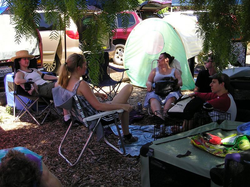 Chatting--in the shade of the huge Workin' Paws tree. (New people--I should've introduced myself--Susan, Maura, ?, Bobby, Jason)