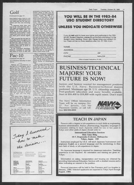Daily Trojan, Vol. 94, No. 36, October 25, 1983