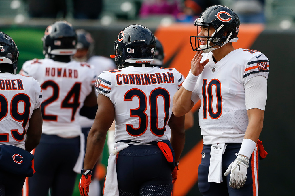 . Chicago Bears quarterback Mitchell Trubisky practices before an NFL football game against the Cincinnati Bengals, Sunday, Dec. 10, 2017, in Cincinnati. (AP Photo/Gary Landers)