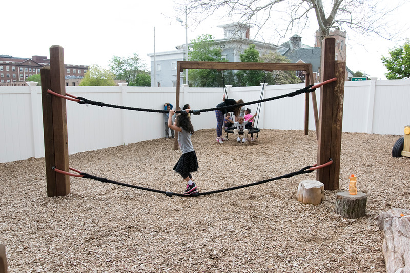 05/20/19  Wesley Bunnell | Staff  Juliet Barnes walks across a rope course during playtime at the New Britain YMCA School Readiness program for children ages 3-5.