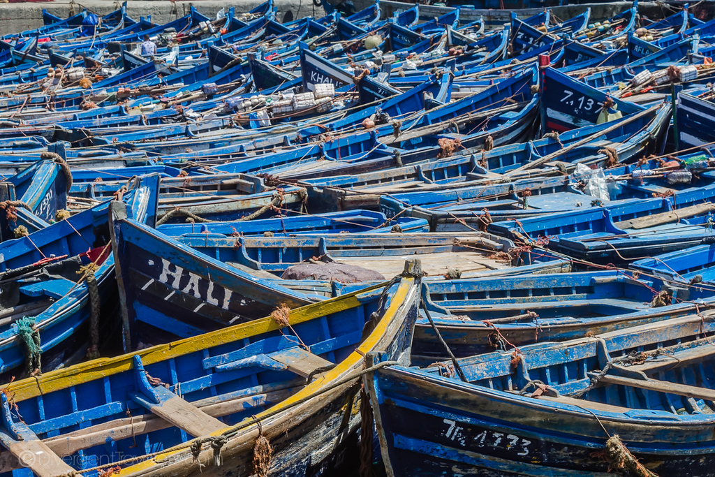 Blue boats in Essaouira - Best Morocco Cities