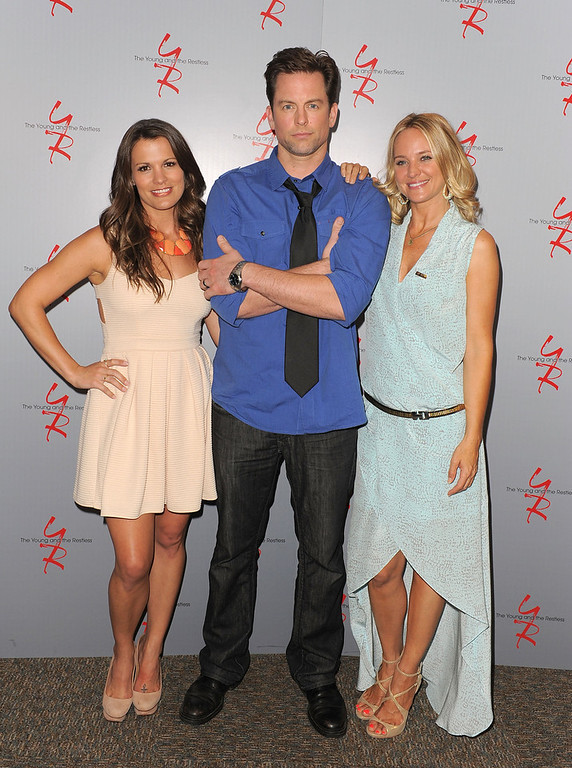 ". Actors Melissa Claire Egan, Michael Muhney and Sharon Case attend the 40 years of ""The Young and The Restless\"" celebration presented by SAG-AFTRA at SAG-AFTRA on June 4, 2013 in Los Angeles, California.  (Photo by Angela Weiss/Getty Images)"