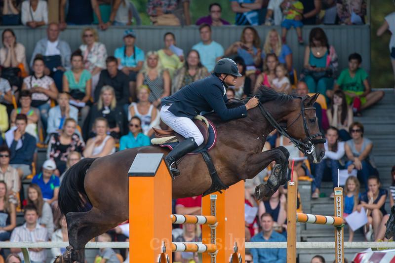 Irmantas GRIKIENIS (LTU) with the horse GLAMOUR FOR EVER, World Cup competition, Grand Prix Riga, CSI2*-W, CSIYH1* - Riga 2016, Latvia