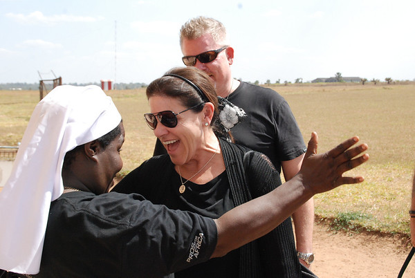 Sister Rosemary greets Starkey Hearing Foundation