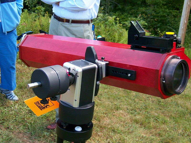 Home made 5 inch folded F-15 refractor. Uses several flats housed in a wooden baffled tube. Nice colors!