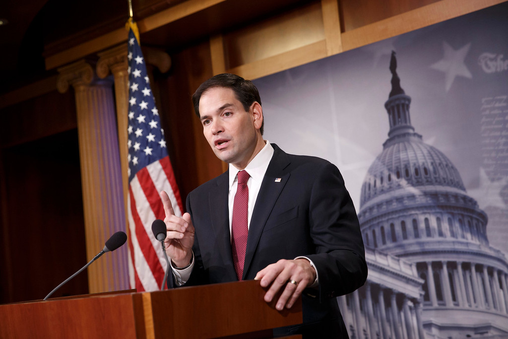 . In this Dec. 17, 2014, file photo, Sen. Marco Rubio, R-Fla., speaks during a news conference on Capitol Hill in Washington.  Rubio told his biggest backers on a conference call on Monday, April 13, 2015, that he is running for president  because he feels �uniquely qualified� to pitch his Republican Party as one that will defend the American Dream. (AP Photo/J. Scott Applewhite, File)