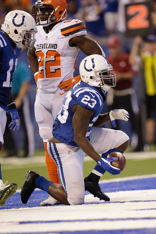 . Indianapolis Colts running back Frank Gore (23) after a touchdown against the Cleveland Browns during the first half of an NFL football game in Indianapolis, Sunday, Sept. 24, 2017. (AP Photo/AJ Mast)
