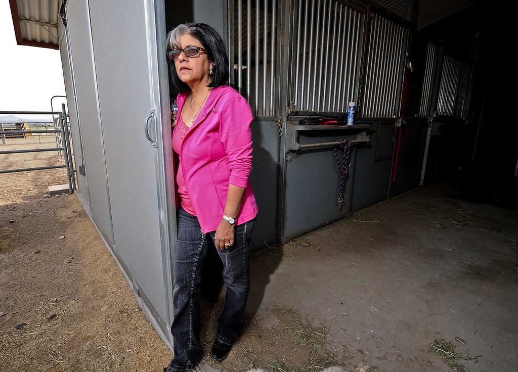. Resident Roberta Walker, 59, looks out to her 10-acre property as she leans against the barn door at her home in Hinkley, Calif. on Monday, March 25, 2013. Walker suspected wrong-doing on PG&E\'s part in the early 1990s and sought legal help, which eventually brought Erin Brockovich to Hinkley. (Rachel Luna / San Bernardino Sun)