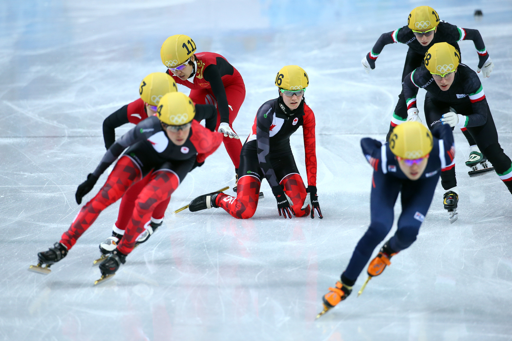 . Short track speed skaters compete in the Short Track Ladies\' 3000m Relay Final A at Iceberg Skating Palace on day 11 of the 2014 Sochi Winter Olympics on February 18, 2014 in Sochi, Russia.  (Photo by Streeter Lecka/Getty Images)