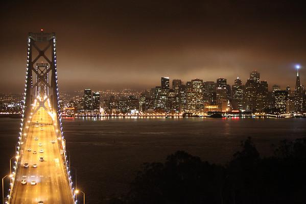 Bay Bridge at Night with Fisheye - Sunday August 21st, 2011