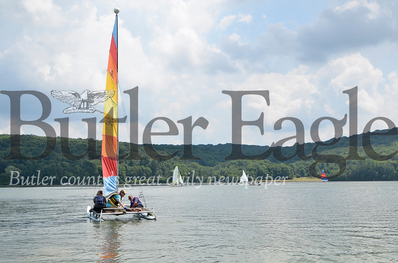 The Moraine Sailing Club sends Regatta-goers afloat on Lake Arthur Saturday morning.