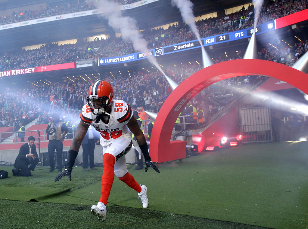 . Cleveland Browns linebacker Christian Kirksey (58) runs onto the field before an NFL football game against Minnesota Vikings at Twickenham Stadium in London, Sunday Oct. 29, 2017. (AP Photo/Matt Dunham)