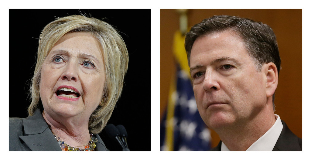 . FILE -In this file photo combo, Democratic presidential candidate Hillary Clinton, left, and FBI Director James. Comey.  Comey said the FBI will not recommend criminal charges in its investigation into Hillary Clinton\'s use of a private email server while secretary of state. (AP Photo/File)