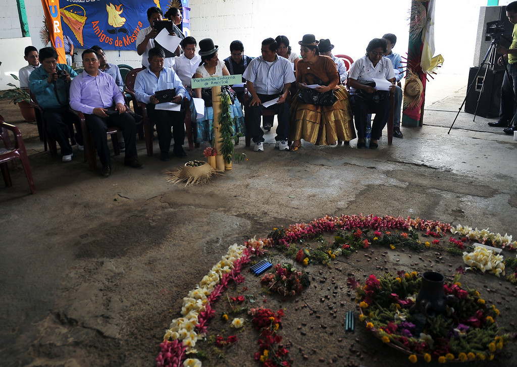 . Members of the Indigenous Parliament of the Americas attend an exchange activity with the indigenous peoples of the Pacific of Nicaragua, in Monimbo, Masaya, on April 10, 2013. HECTOR RETAMAL/AFP/Getty Images