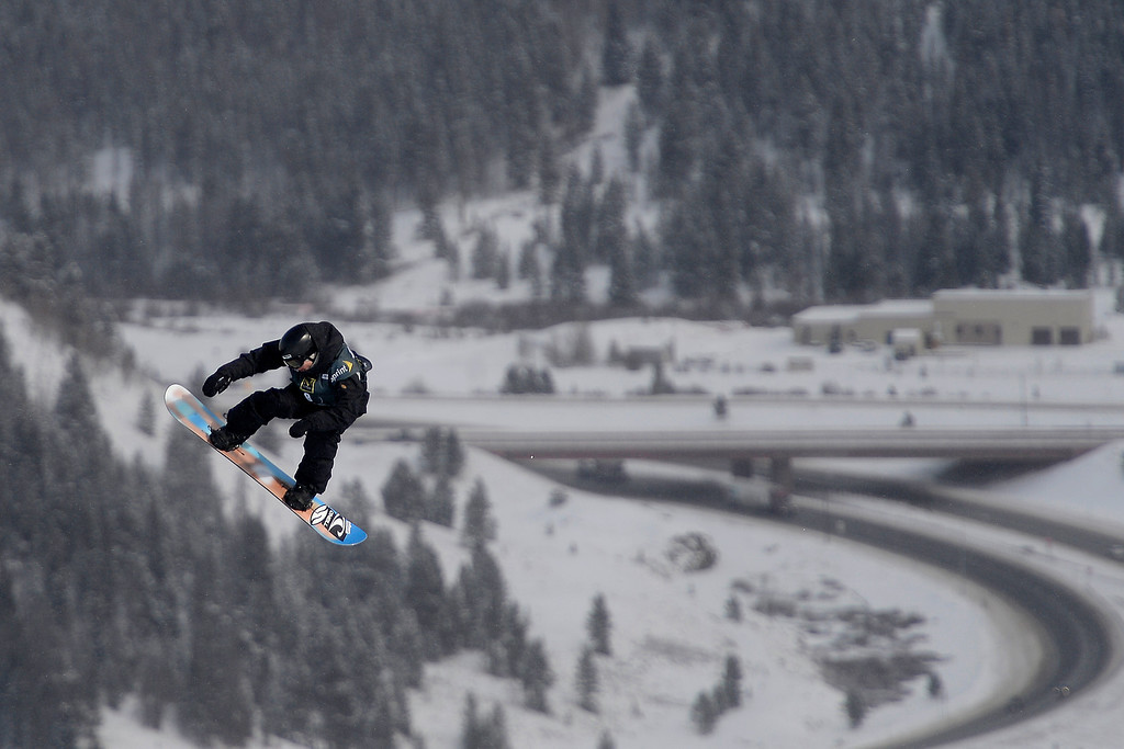 . Lucien Koch rides during the slopestyle finals of the Copper Mountain Grand Prix.   (Photo by AAron Ontiveroz/The Denver Post)