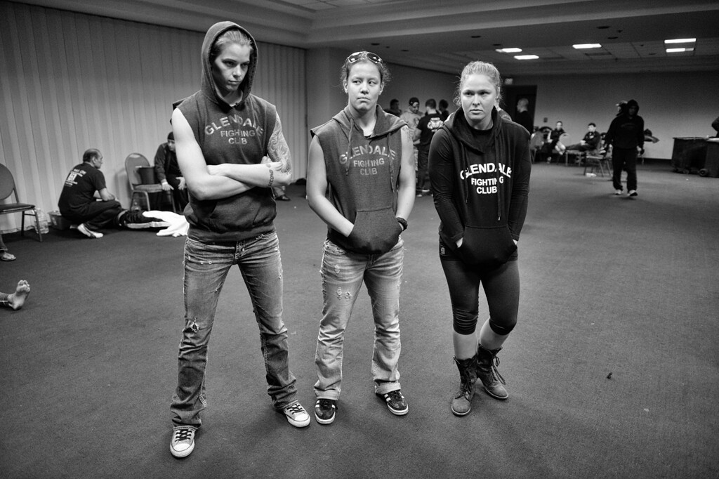 . Jessamyn Duke, Shayna Baszler  and Ronda Rousey wait backstage before teammate Marina Shafir\'s  professional debut at  Chaos at the Casino 4 at Hollywood Park Casino in Inglewood, CA. (Photo by Hans Gutknecht/Los Angeles Daily News)