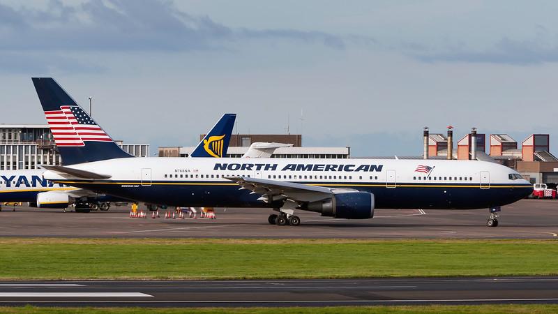 N768NA. Boeing 767-36N/ER. North American Airlines. Prestwick. 150807.