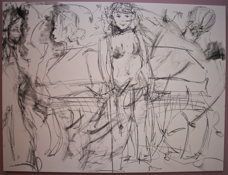 """2011, 36"""" x 48"""". All of us and one, Pencil and charcoal on canvas."""