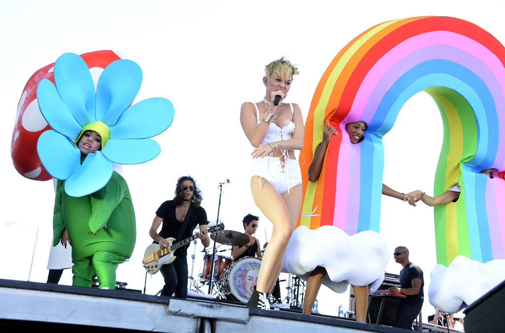 . Entertainer Miley Cyrus performs onstage during the iHeart Radio Music Festival Village on September 21, 2013 in Las Vegas, Nevada.  (Photo by Jason Kempin/Getty Images for Clear Channel)