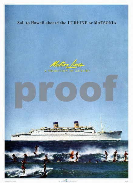 143: Luxury cruise liner national magazine advertisement, ca. 1957. These ships carried tens of thousands of visitors to and from Hawaii in the Thirties, Forties and Fifties but were ultimately put out of service with the advent of mass travel by air. It's said that when you approach Hawaii by sea long before you see land you can smell the fragrance of its flowers... Try that on a plane... (PROOF watermark will not appear on your print)