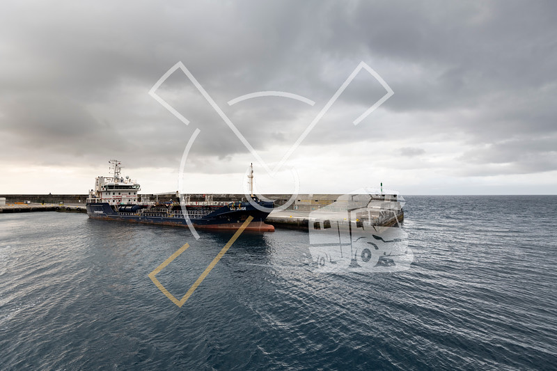 Vessel named Sao Jorge of Transinsular in the port of Sao Roque, Pico Island
