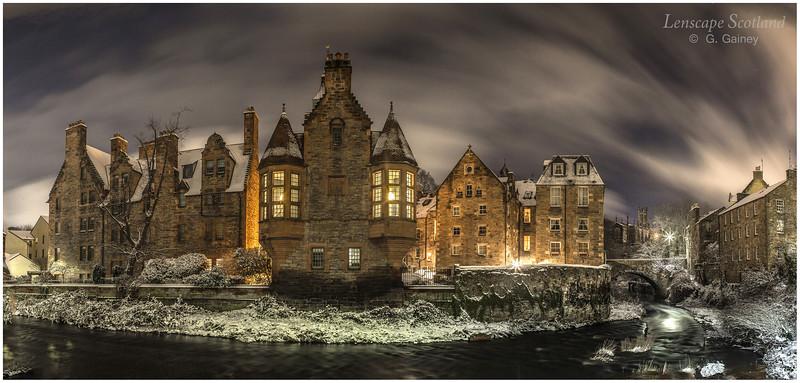 Dean Village snowy night-time panorama