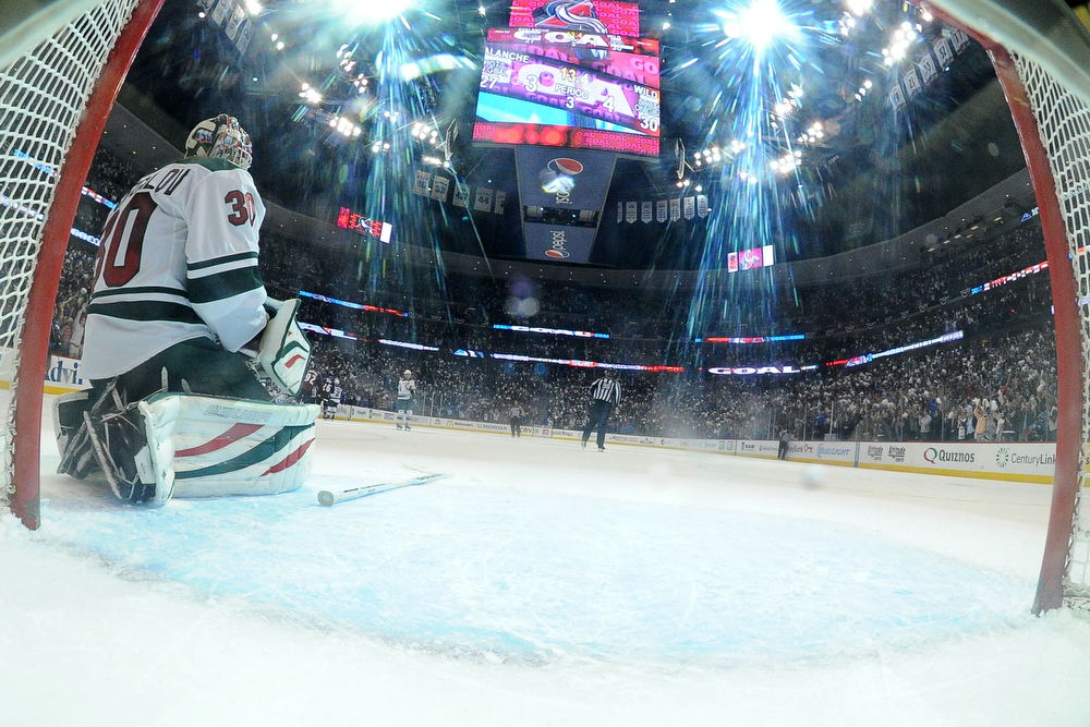 . Ilya Bryzgalov (30) of the Minnesota Wild reacts to giving up a 4-4 game-tying goal to Paul Stastny (26) of the Colorado Avalanche with less than 15 seconds to play during the third period. The Colorado Avalanche hosted the Minnesota Wild in the first round of the NHL playoffs at the Pepsi Center on Thursday, April 17, 2014. (Photo by John Leyba/The Denver Post)