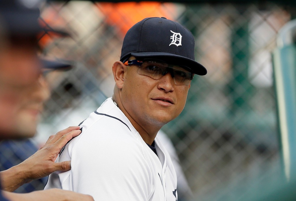 . Detroit Tigers first baseman Miguel Cabrera is seen in the dugout before the first inning of a baseball game against the Chicago Cubs, Tuesday, June 9, 2015, in Detroit. (AP Photo/Carlos Osorio)