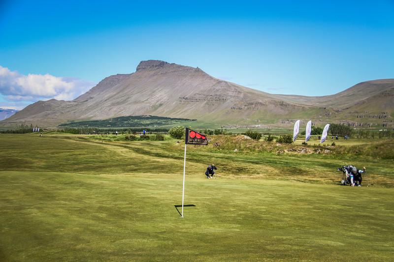 Frá 9. flöt á Garðavelli á Akranesi.  Mynd/seth@golf.is