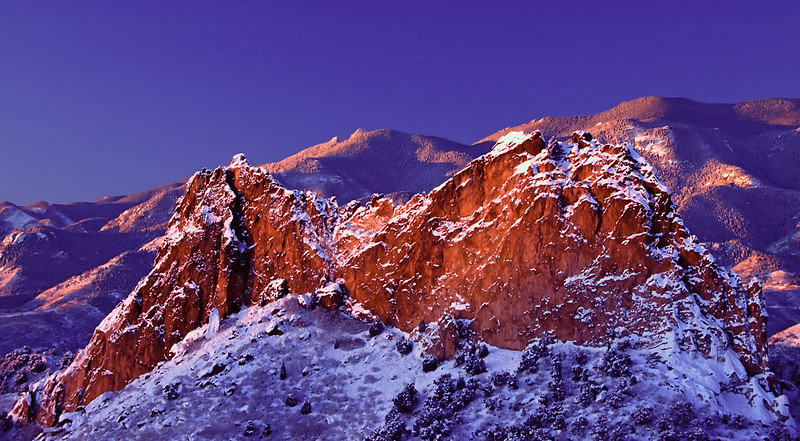 First light after an early spring snow storm at  Garden of the Gods, Colorado Springs, Colorado.